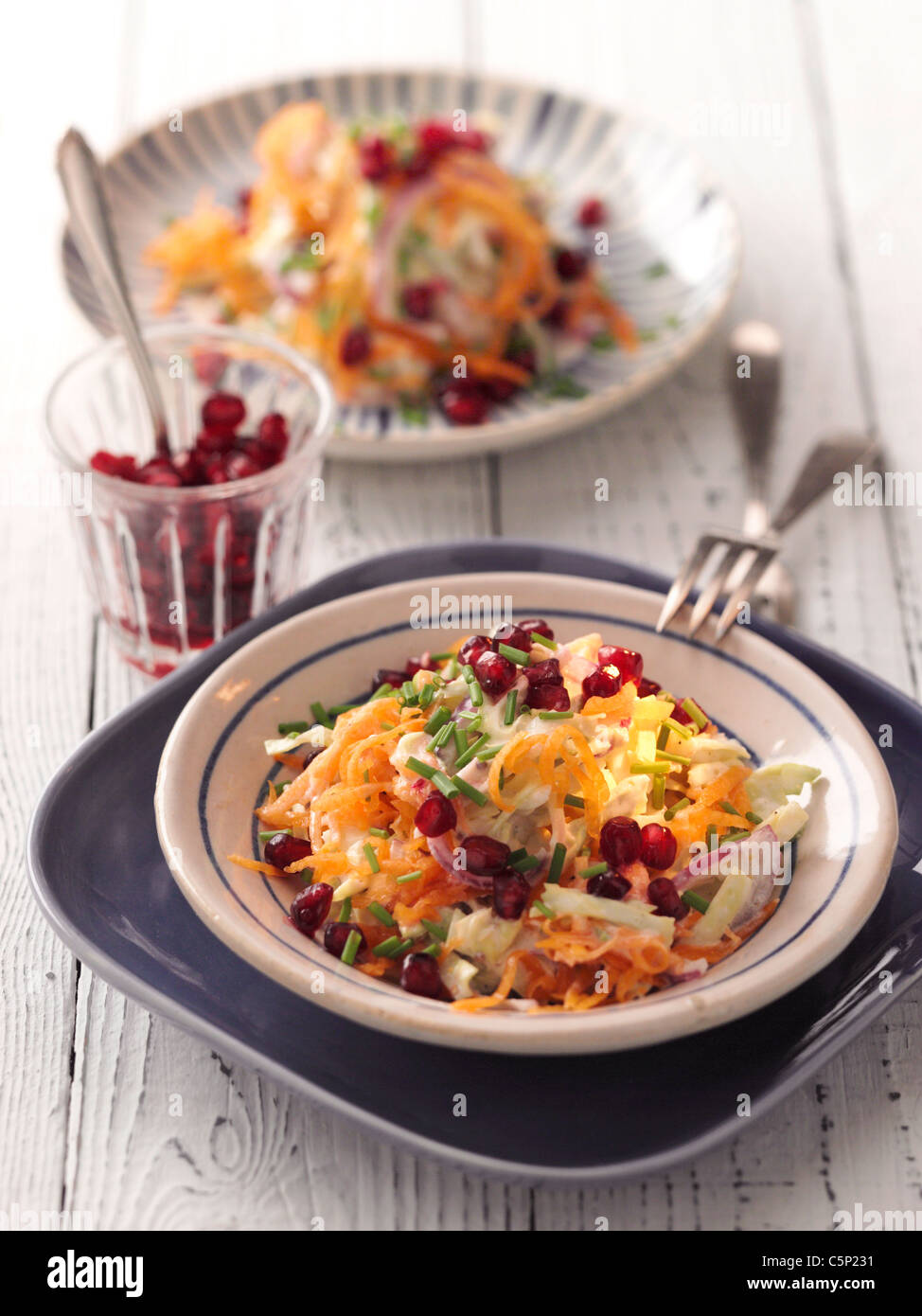 Salad of pumkin with cabbage and pomegranate - Stock Image