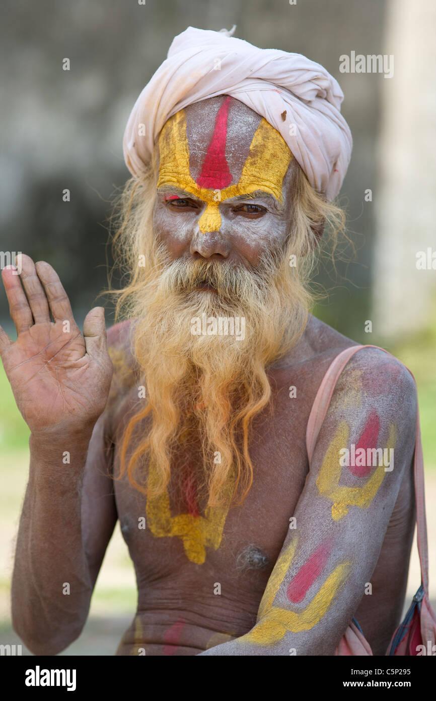 A Sadhu Holy Man at Pashupatinath Temple in Kathmandu, Nepal Stock Photo