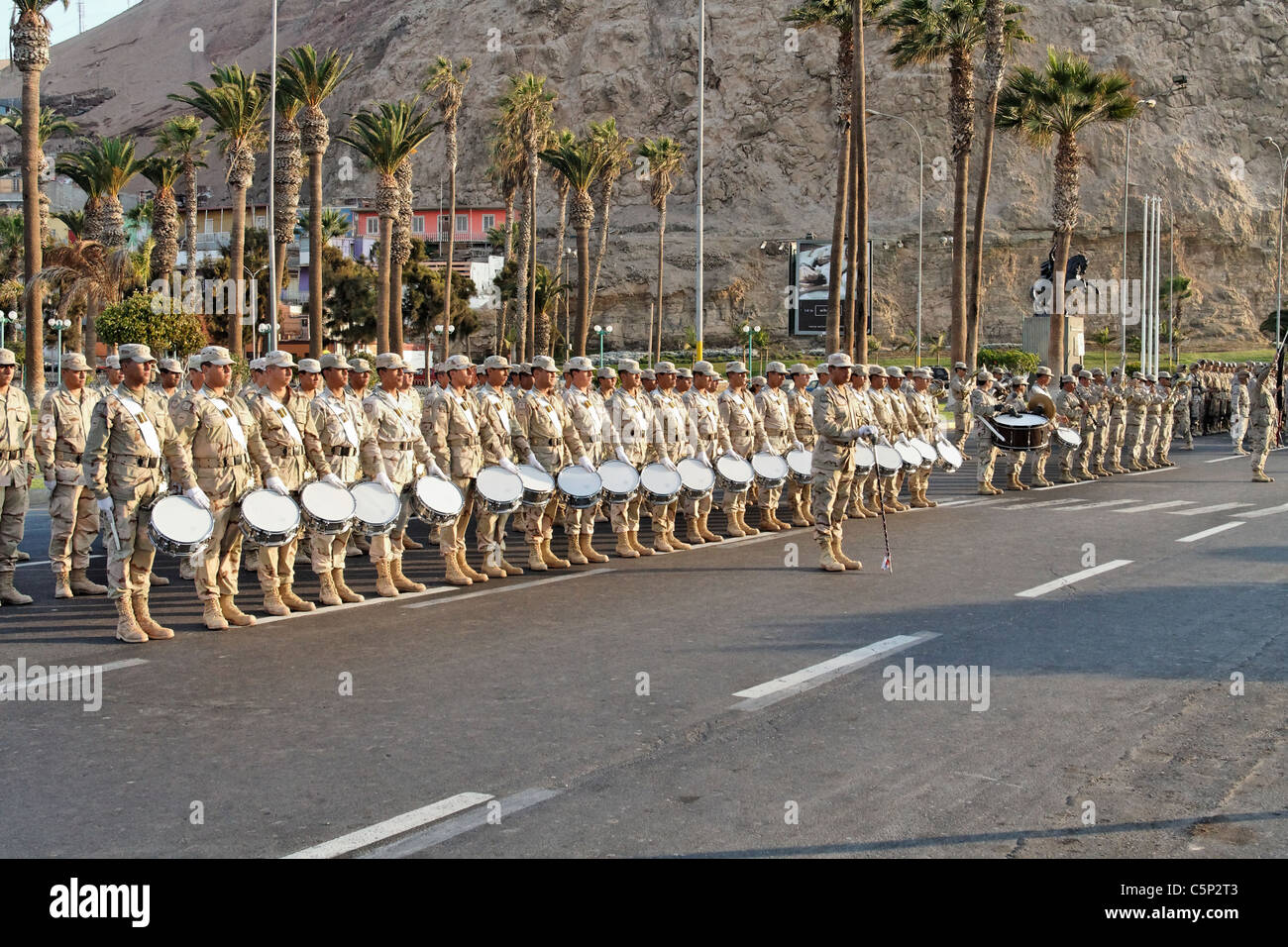 Parade exercise for the national holiday in Arica, Chile, South America - Stock Image