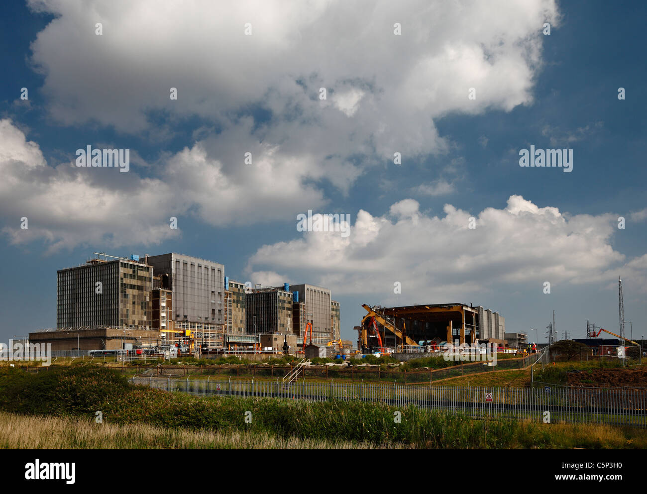 Bradwell nuclear power station, being decommissioned, and partly demolished. - Stock Image