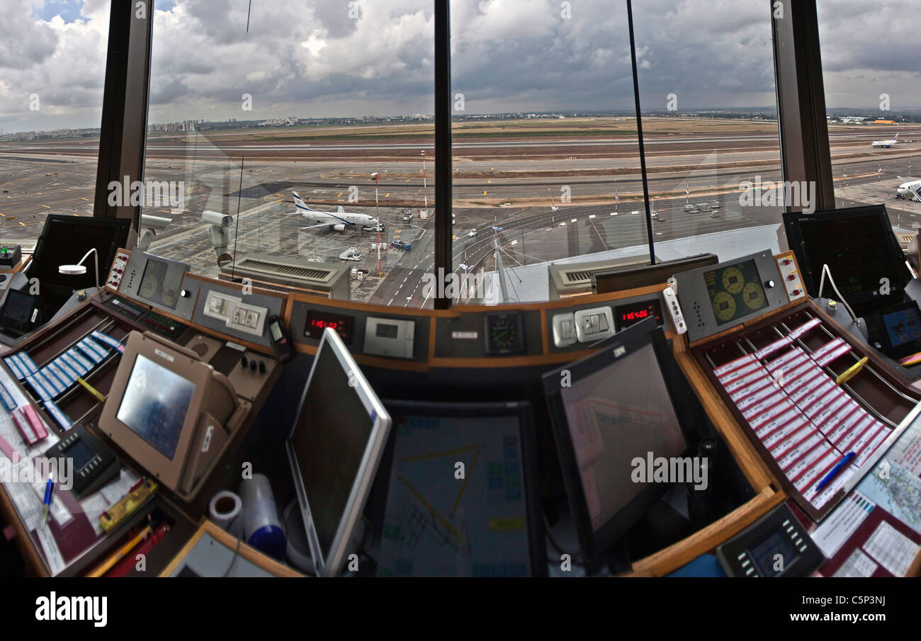 Interior of the Air traffic Control Tower, Israel, Ben-Gurion international Airport - Stock Image