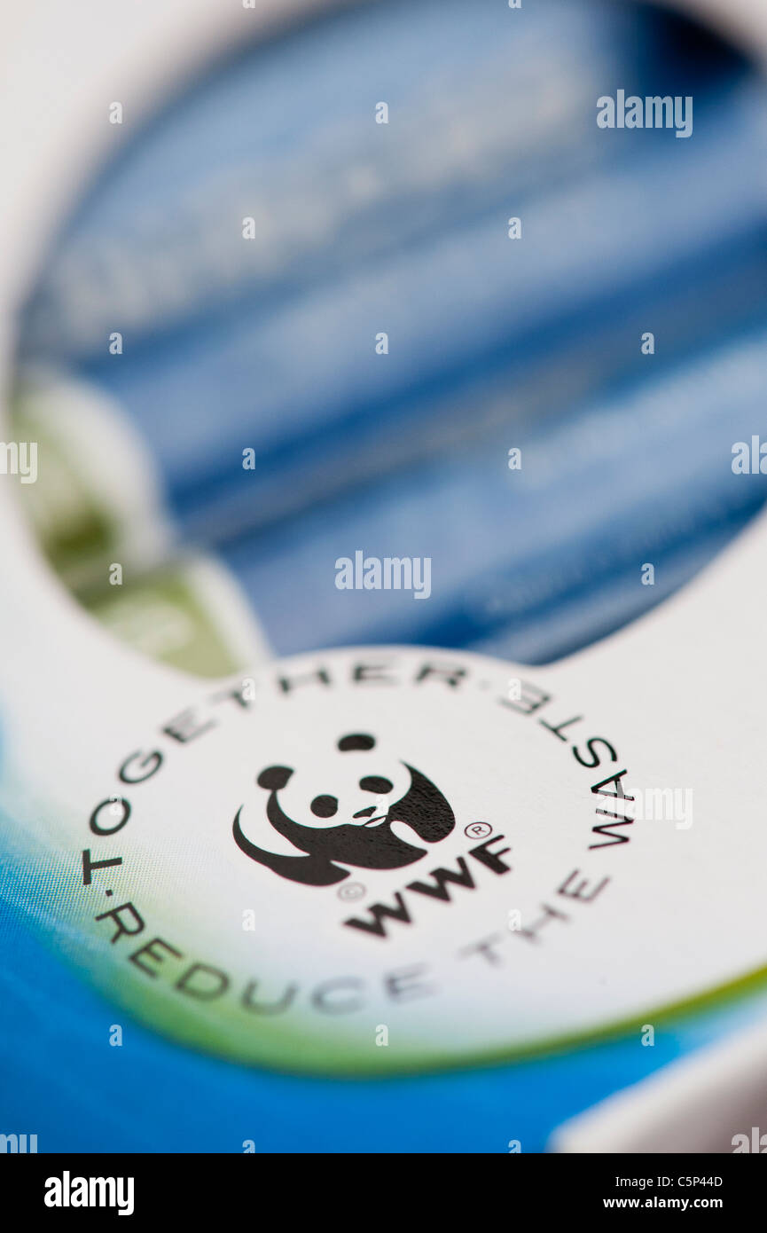 WWF Together reduce the waste product label on rechargeable battery packet - Stock Image