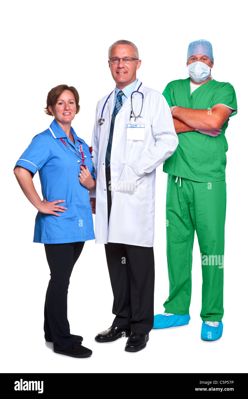 Photo of a medical team, doctor, nurse and surgeon, isolated on a white background. - Stock Image