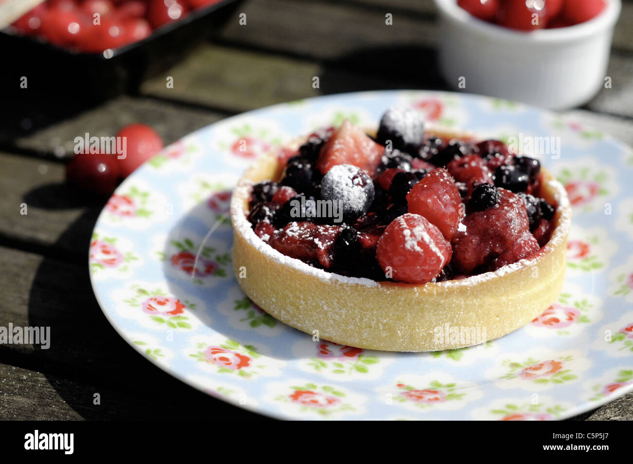 Berry tart outside on a flowery plate - Stock Image