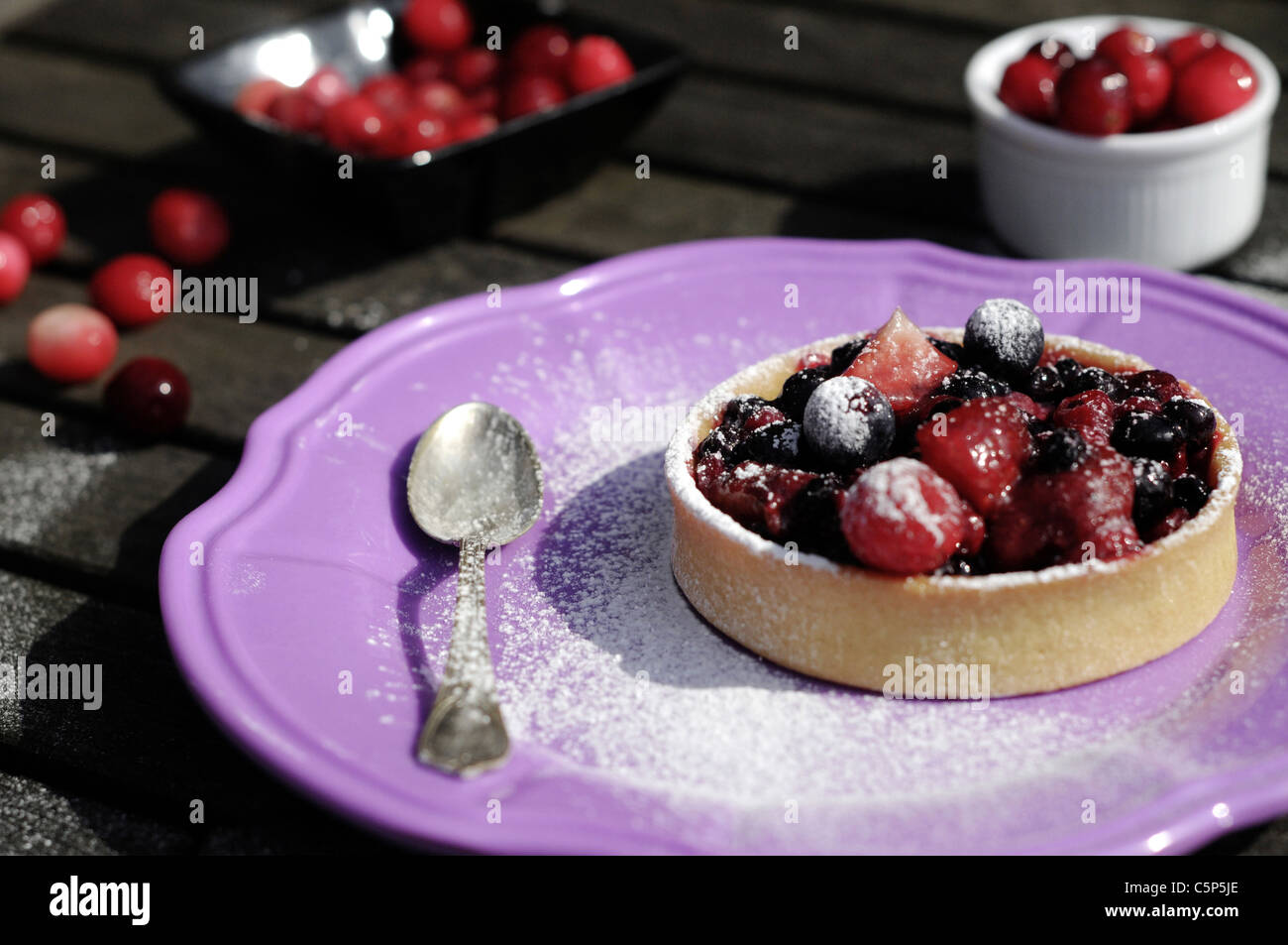 Berry tart outside on a purple  plate - Stock Image