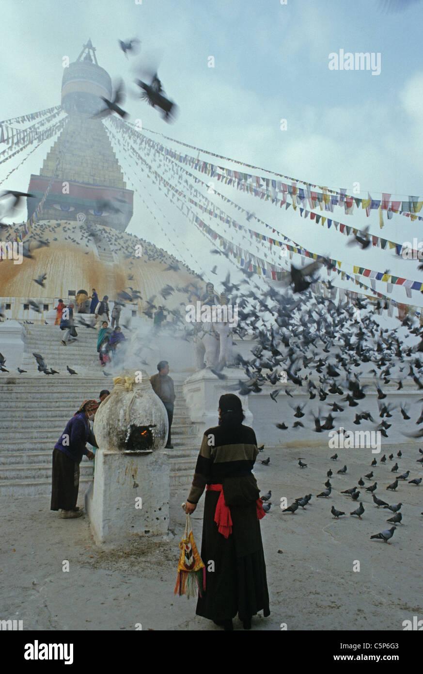 boudhanath stupa kathmandhu nepal - Stock Image