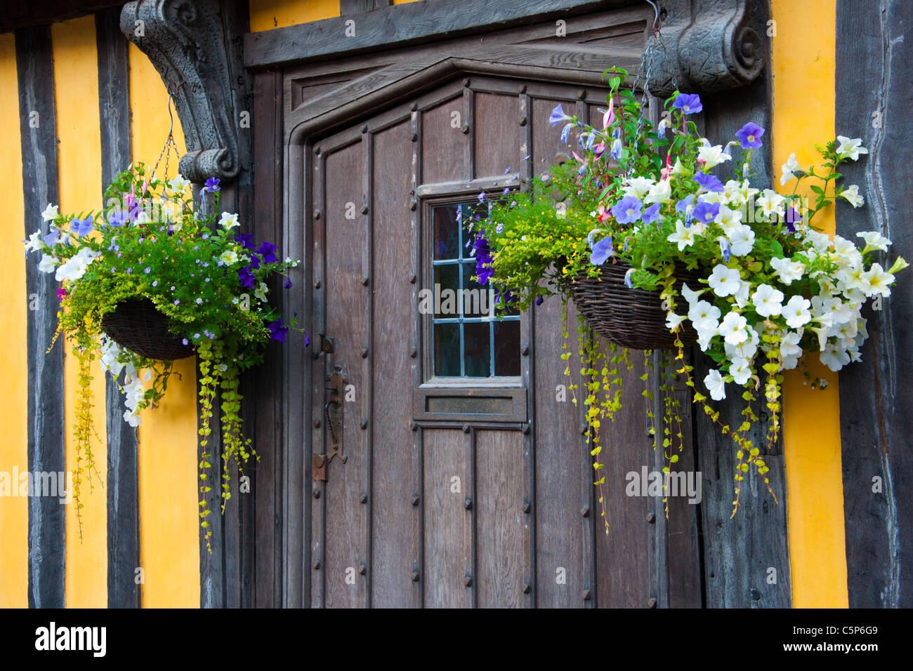 Hanging baskets  house Ludlow Door Doorway - Stock Image
