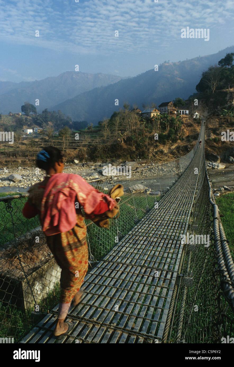 suspension bridge chitwan kathmandhu road - Stock Image