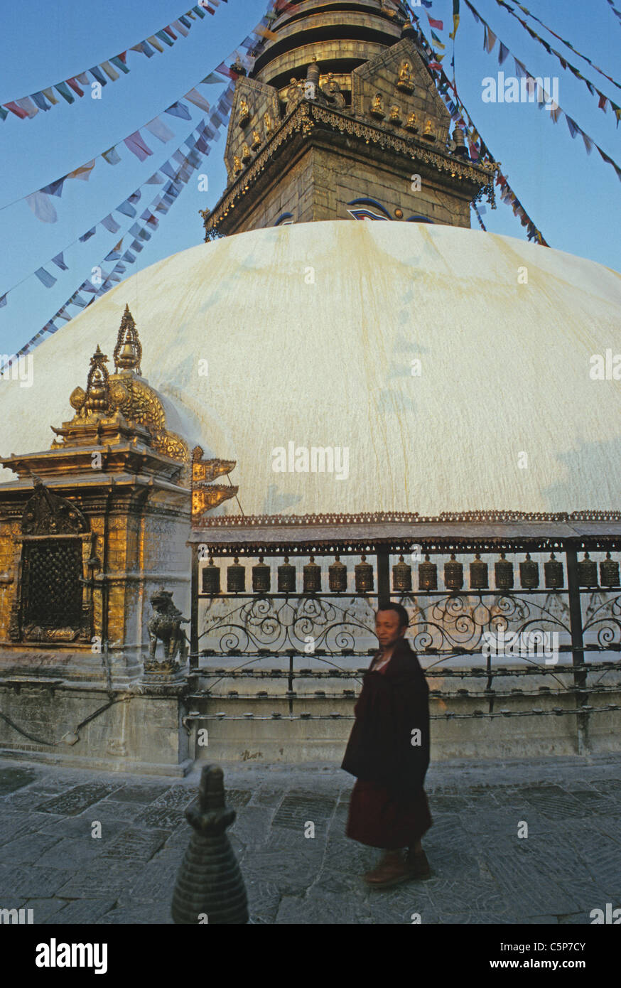 swayambunath stupa kathmandhu nepal - Stock Image