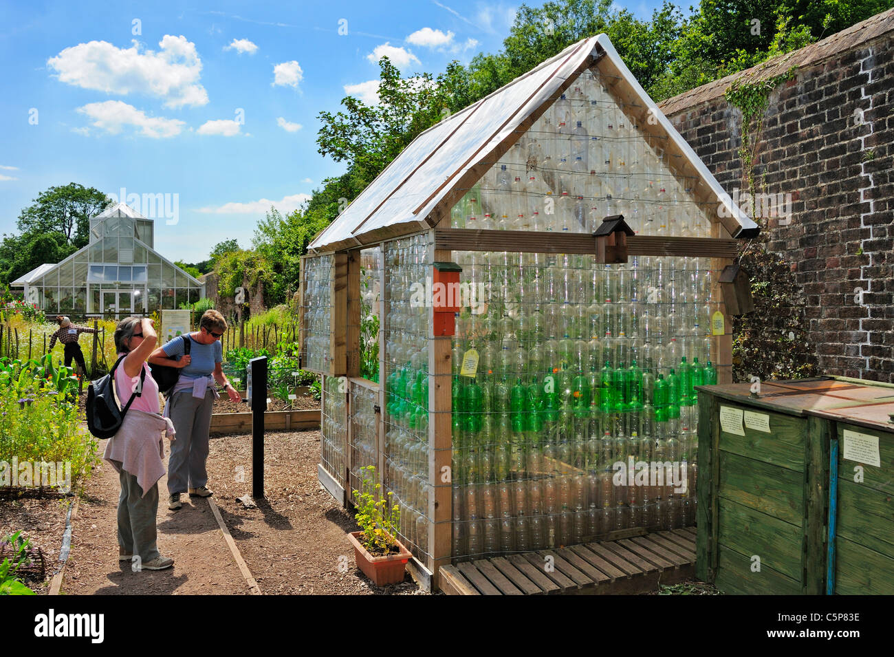 Glasshouse made out of old plastic bottles in the National Botanical Gardens of Wales  - Stock Image