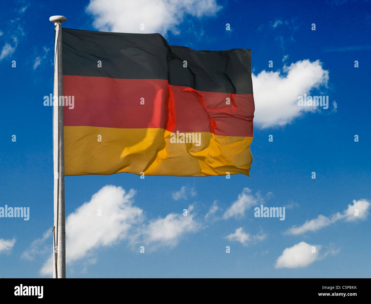 Detailansicht einer Flagge der Bundesrepublik Deutschland | Detail photo of the Flag from the Federal Republic of - Stock Image