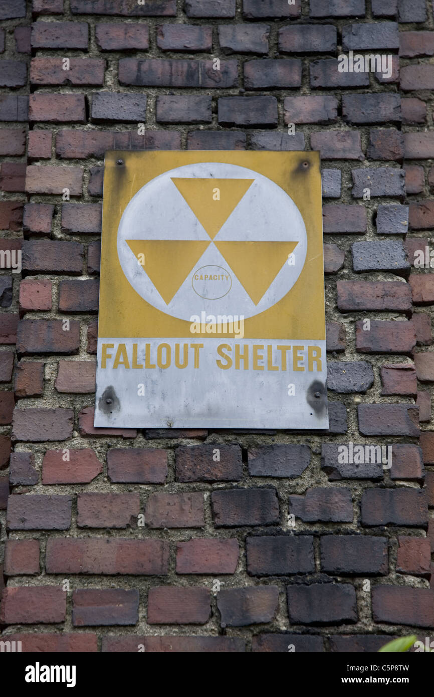 Old fallout shelter sign on an apartment building in Park Slope, Brooklyn, New York. Stock Photo