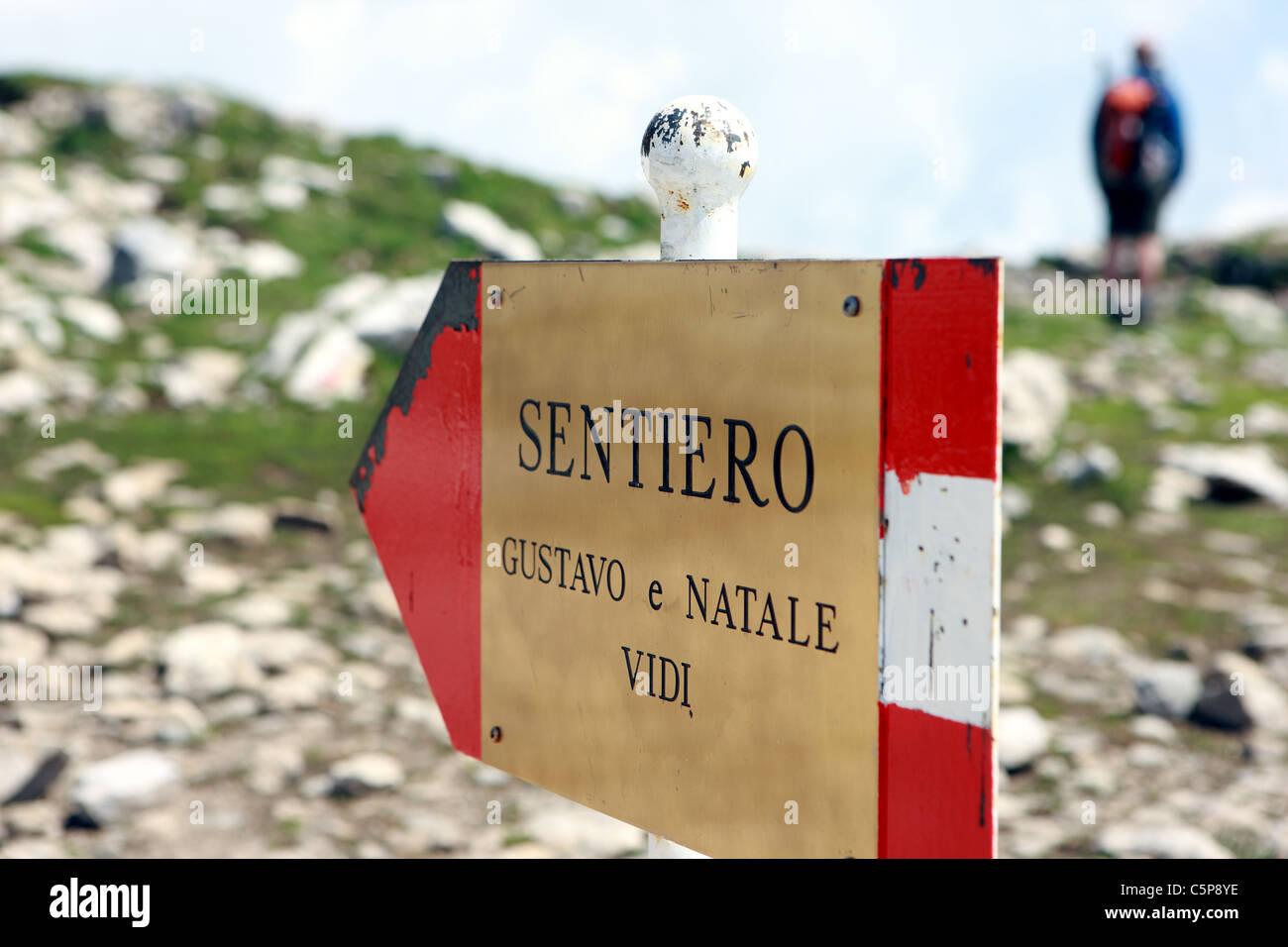 Sign showing the route to the Brenta Dolomite via Ferrata walk, Sentiero Gustavo & Natale Vidi - Stock Image