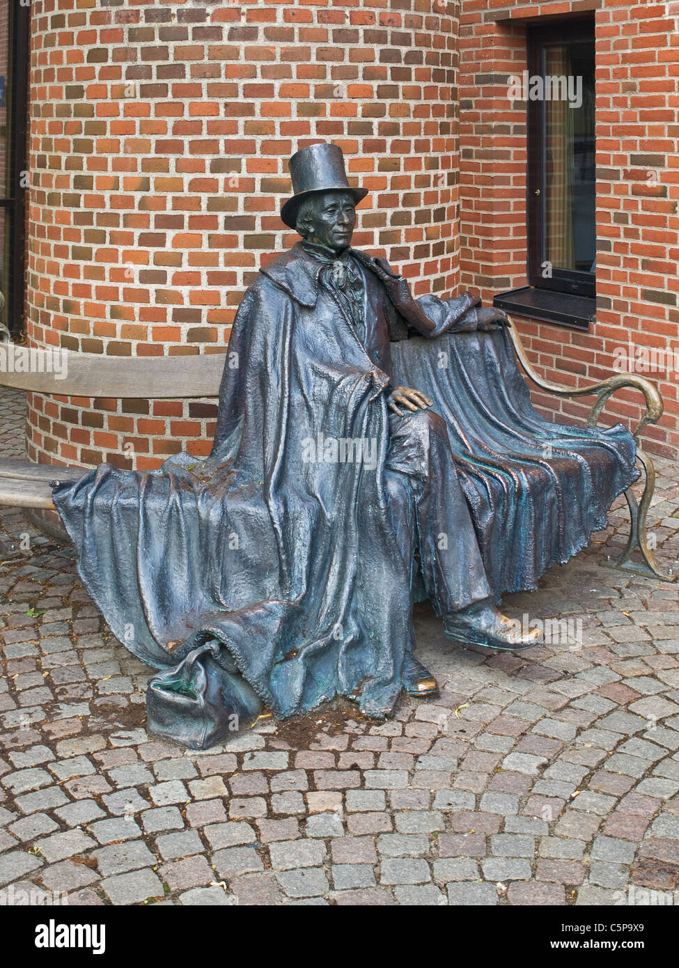 Sculpture of the poet and author Hans Christian Andersen, Odense Municipality, Region Syddanmark, Funen island, - Stock Image