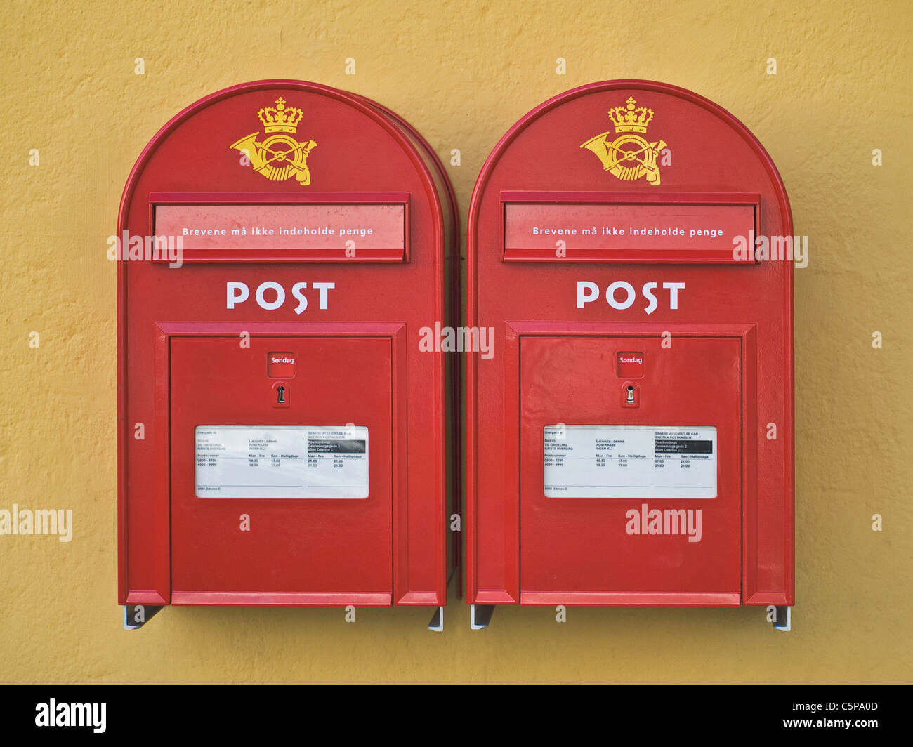 Two letterboxes from Post Denmark - Stock Image