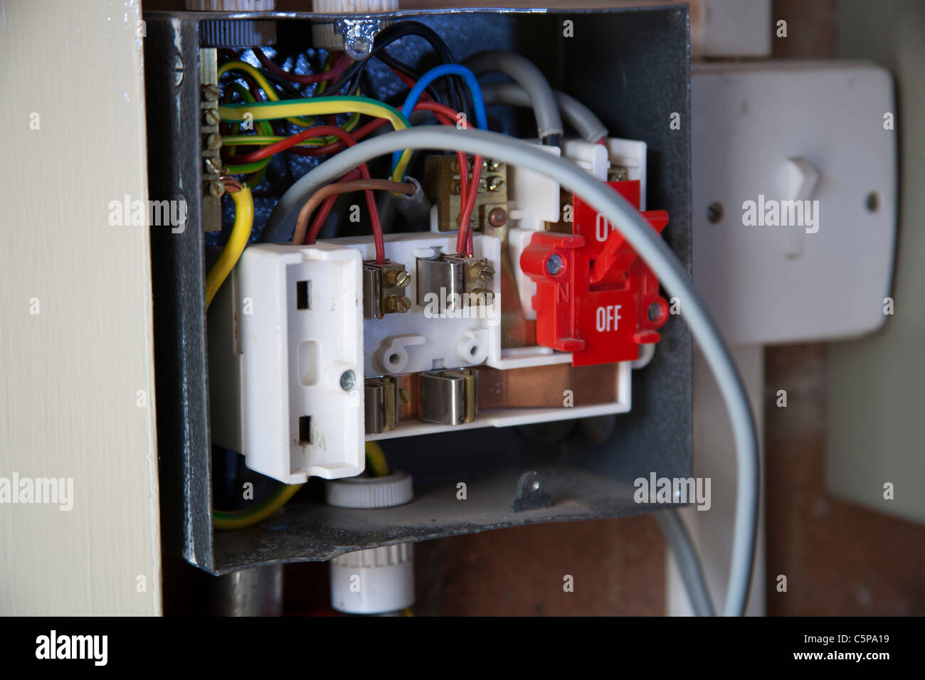 Consumer Unit Stock Photos Images Alamy Wiring Box Qualified Electrician Installing A Being Wired Image