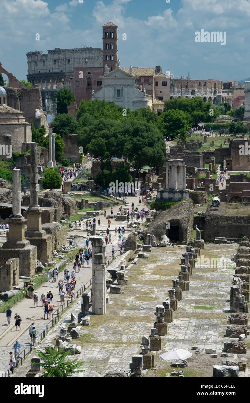 Roman Forum, Foro Romano, in Rome - Stock Image