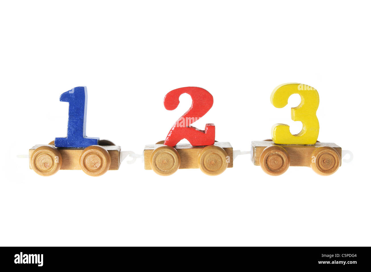Wooden Toy Train Carriages with Numbers Stock Photo