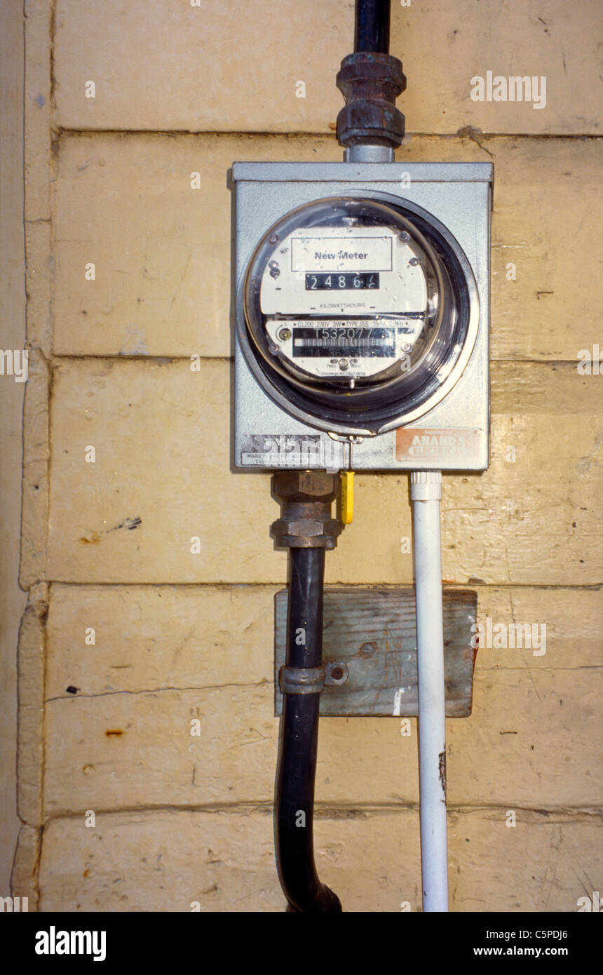 Charlottesville Tobago Electricity Meter - Stock Image