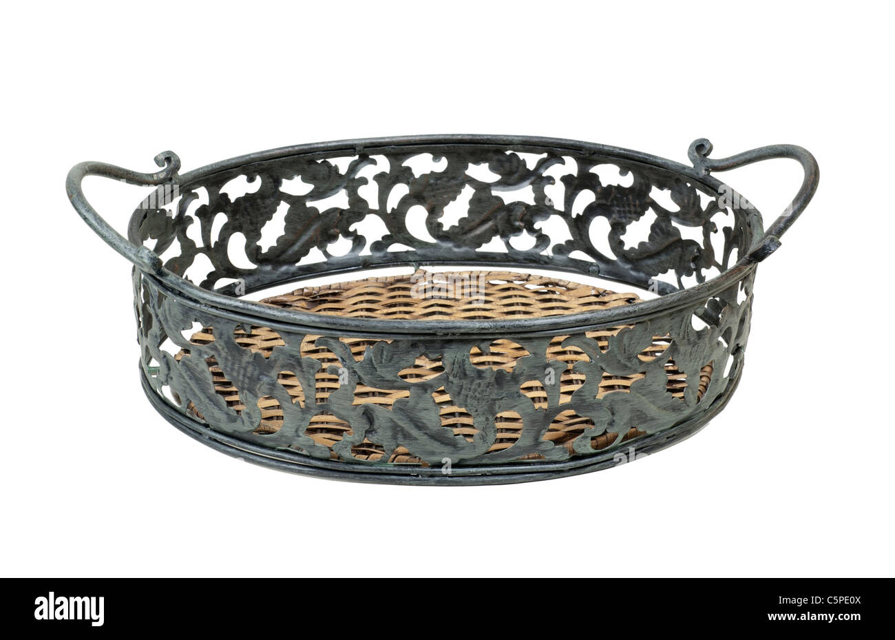 Elegant serving tray of metal leaves with wooden base - path included - Stock Image