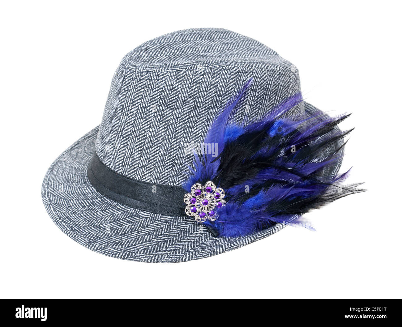 Houndstooth tweed hat with elegant gem and feather element for a sophisticated look - path included - Stock Image
