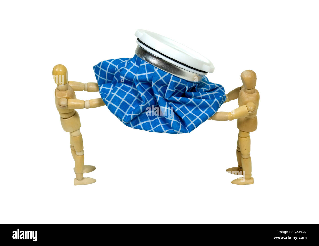 Ice pack to the rescue shown by two models carrying an old fashioned blue checkered ice pack for first aid uses - Stock Image
