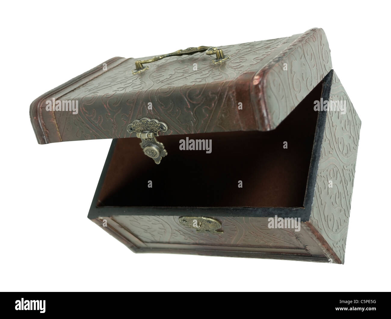 Fancy pressed leather box with antique lock used to store items viewed from the top down - path included - Stock Image