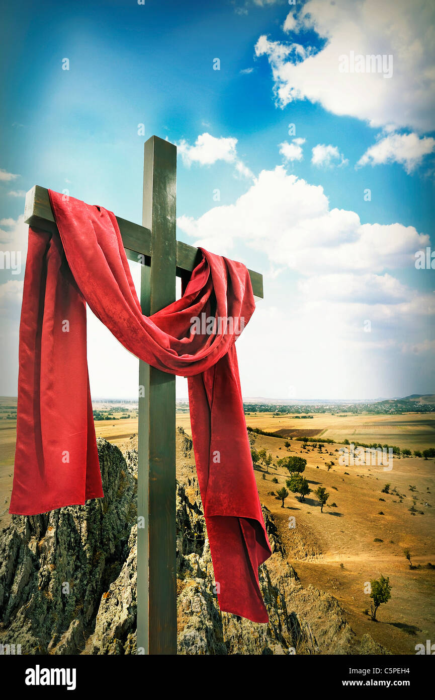 wooden cross with red cloth stock photo 37988416 alamy
