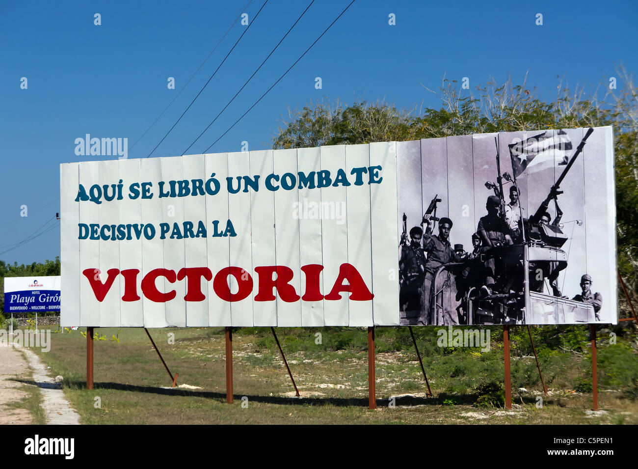 Cuban Bay of Pigs victory propaganda road sign, Playa Giron, Cuba - Stock Image