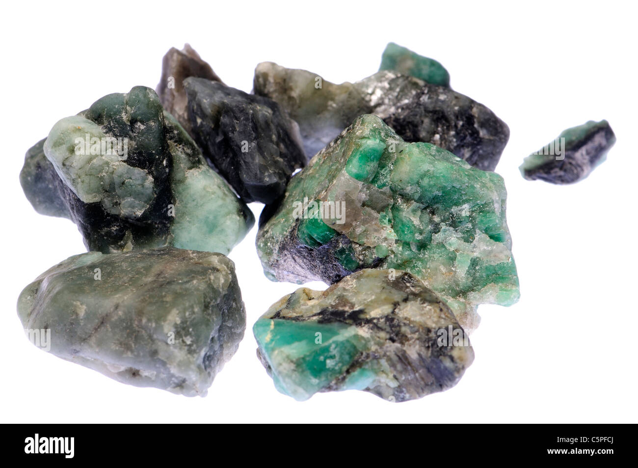 Rough uncut natural Emeralds - Stock Image