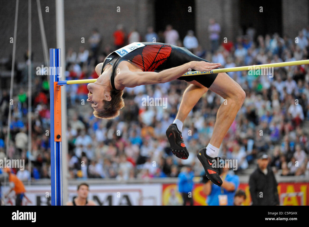 Stockholm 2011 07 29 DN-galan Diamond League - Ivan Ukhov RUS wins the high jump with 2.34 meter - - Stock Image