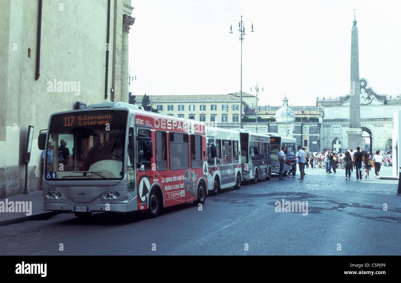 Electric minibus in Rome - Stock Image