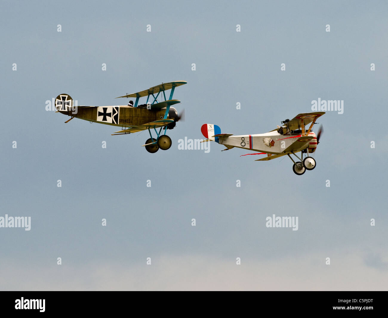 Vintage tri-plane Fokker Dreidecker and a Nieuport 17 bi-plane N 1977 from the first World war Stock Photo