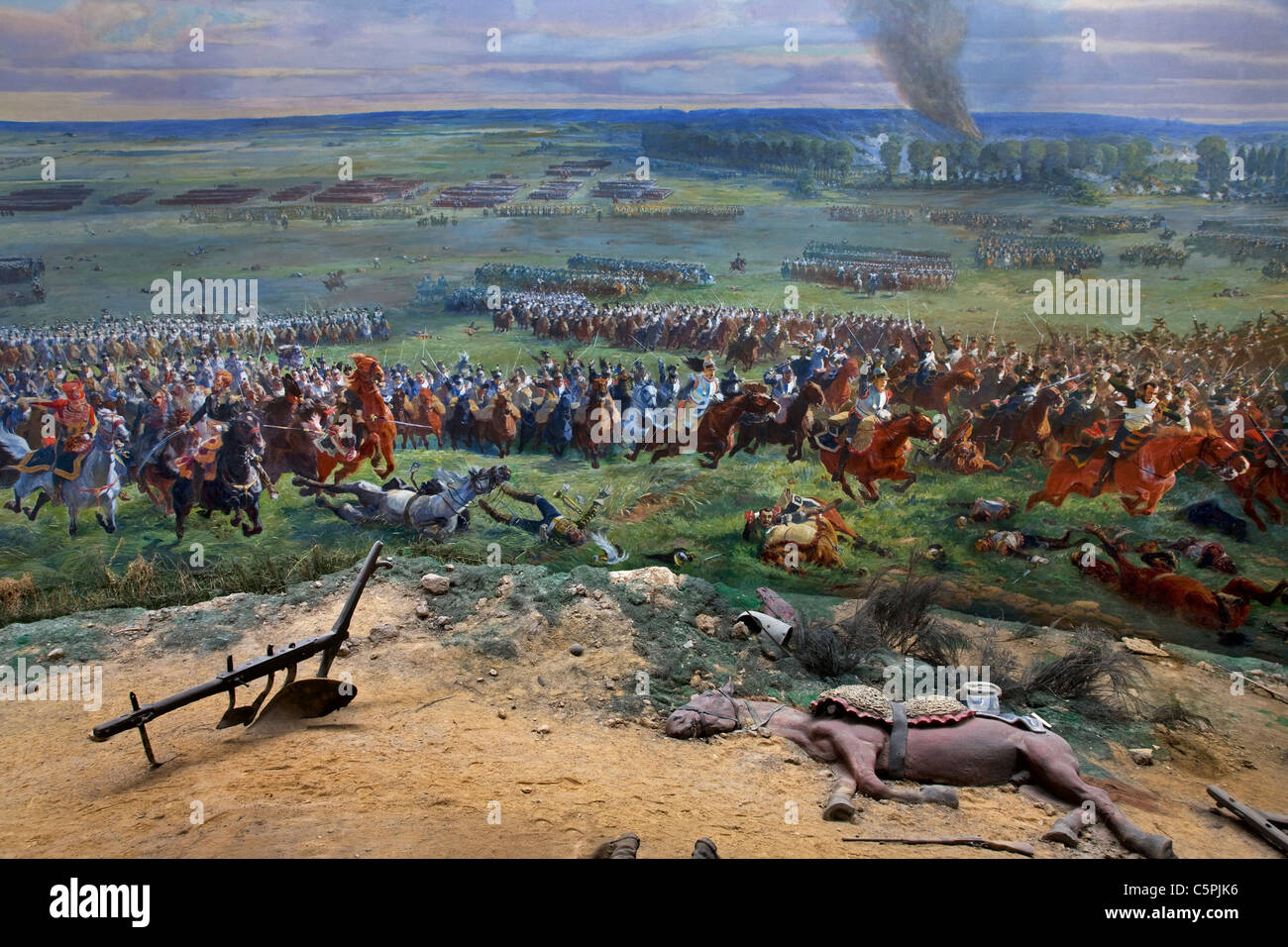 The Panorama, a huge 360° fresco of the battle of Waterloo at Braine l'Alleud, Belgium - Stock Image