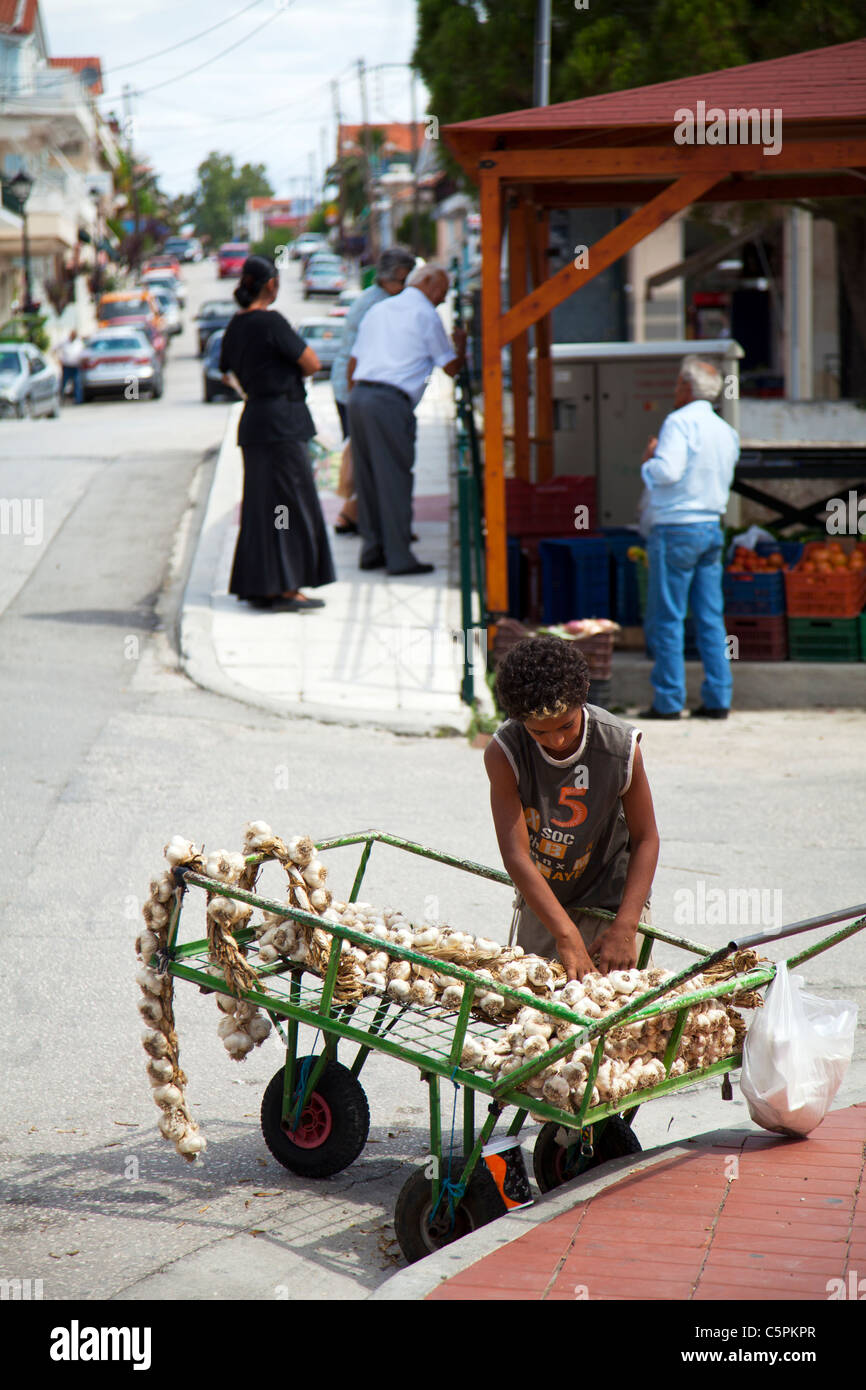 Kefalonia, Greek Island, Greece, young boy selling garlic from a cart on the side of the road to passers by, exploitation - Stock Image