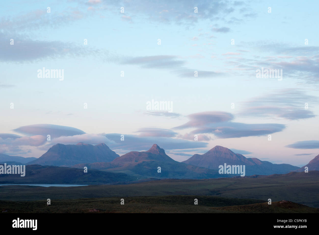 Inverpolly. (L to R) Cul Mor, Stac Pollaidh, Cul Beag. Viewed from near Achnahaird, Ross and Cromarty, Highland, - Stock Image