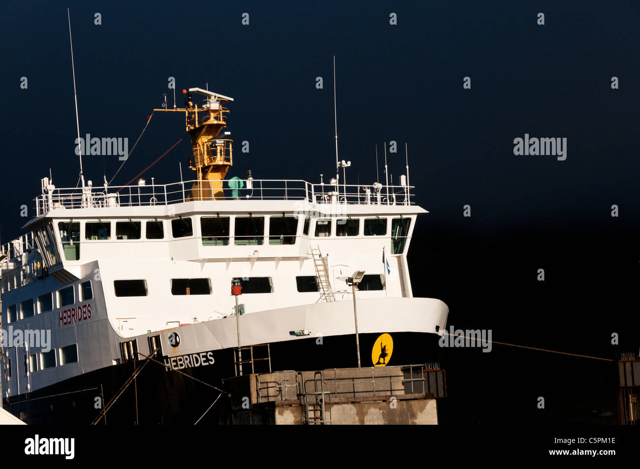 The Caledonian MacBrayne car ferry MV Hebrides in port at Lochmaddy on North Uist in the Outer Hebrides. - Stock Image