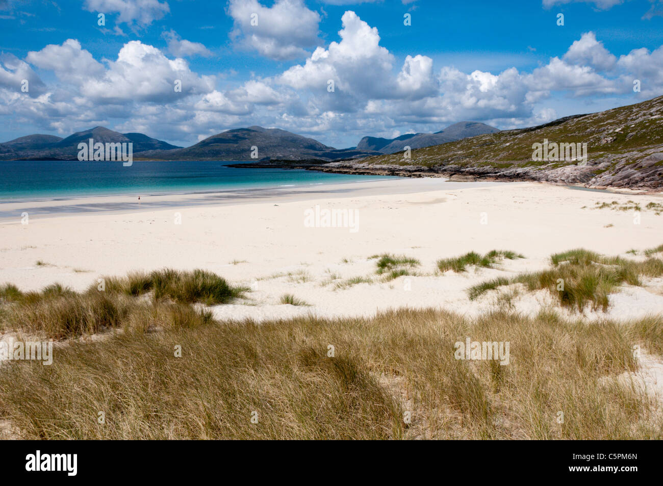 Luskentyre beach on South Harris in the Outer Hebrides. - Stock Image