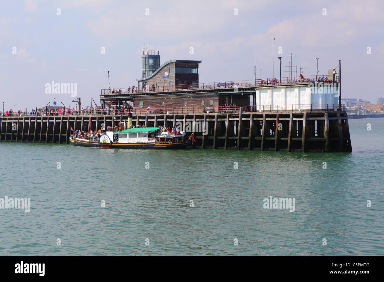 Waverley Paddle Steamer at Southend Pier landing stage, Thames Estuary, Essex, UK - Stock Image