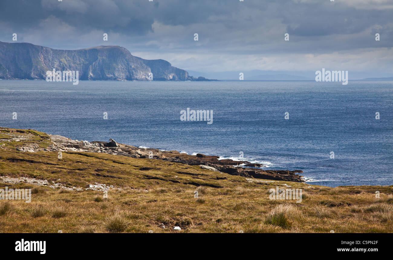 Panorama of the coast at Achill Island, county Mayo, Ireland. - Stock Image