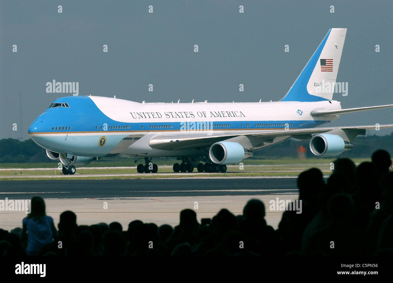 Air Force One Presidential air transport a specially converted Boeing 747 called a VC-25A. - Stock Image