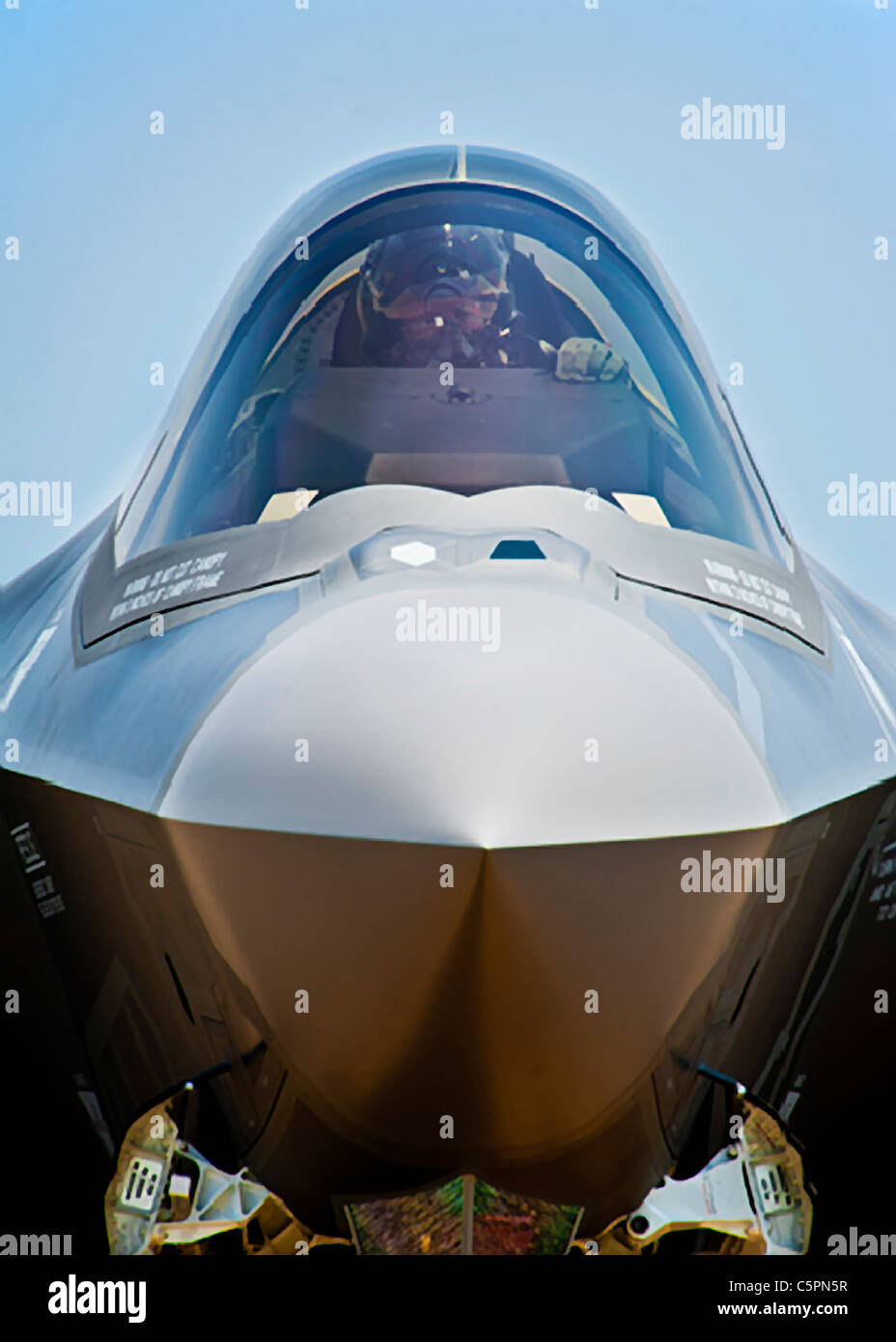 U.S. Air Force F-35 Lightning II fighter aircraft, the newest advanced fighter aircraft - Stock Image