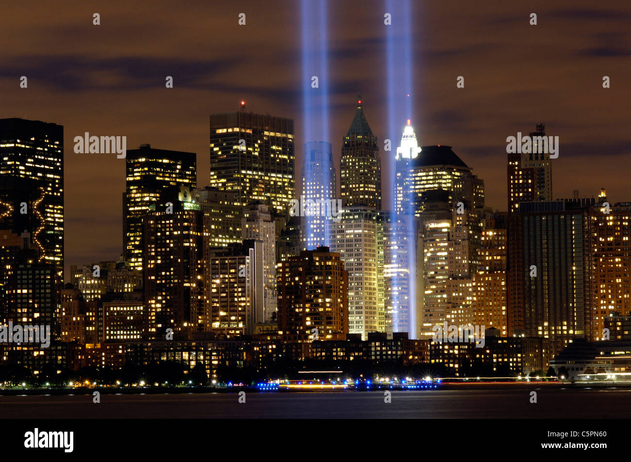 The 'Tribute in Light' memorial is in remembrance of the events of Sept. 11, 2001. - Stock Image