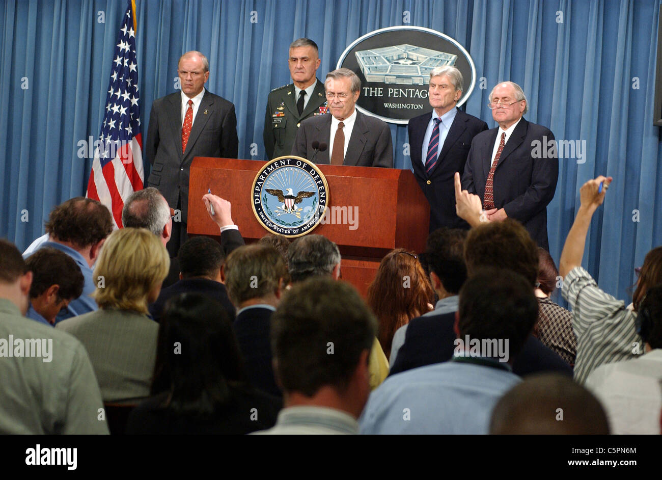 Defense Secretary Donald Rumsfeld holds a press conference following the terror attacks of September 11, 2001 - Stock Image
