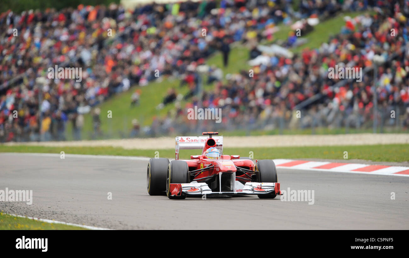 Fernando Alonso (ESP), Ferrari in front of the crowds at the German Formula One Grand Prix on Nürburgring racetrack - Stock Image