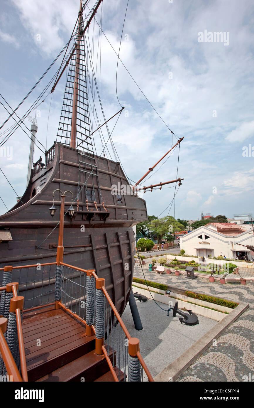 Reproduction of the Portugese Caravel Ship Flor de la Mar, Maritime Museum of Melaka, Melaka, Malacca, Malaysia - Stock Image