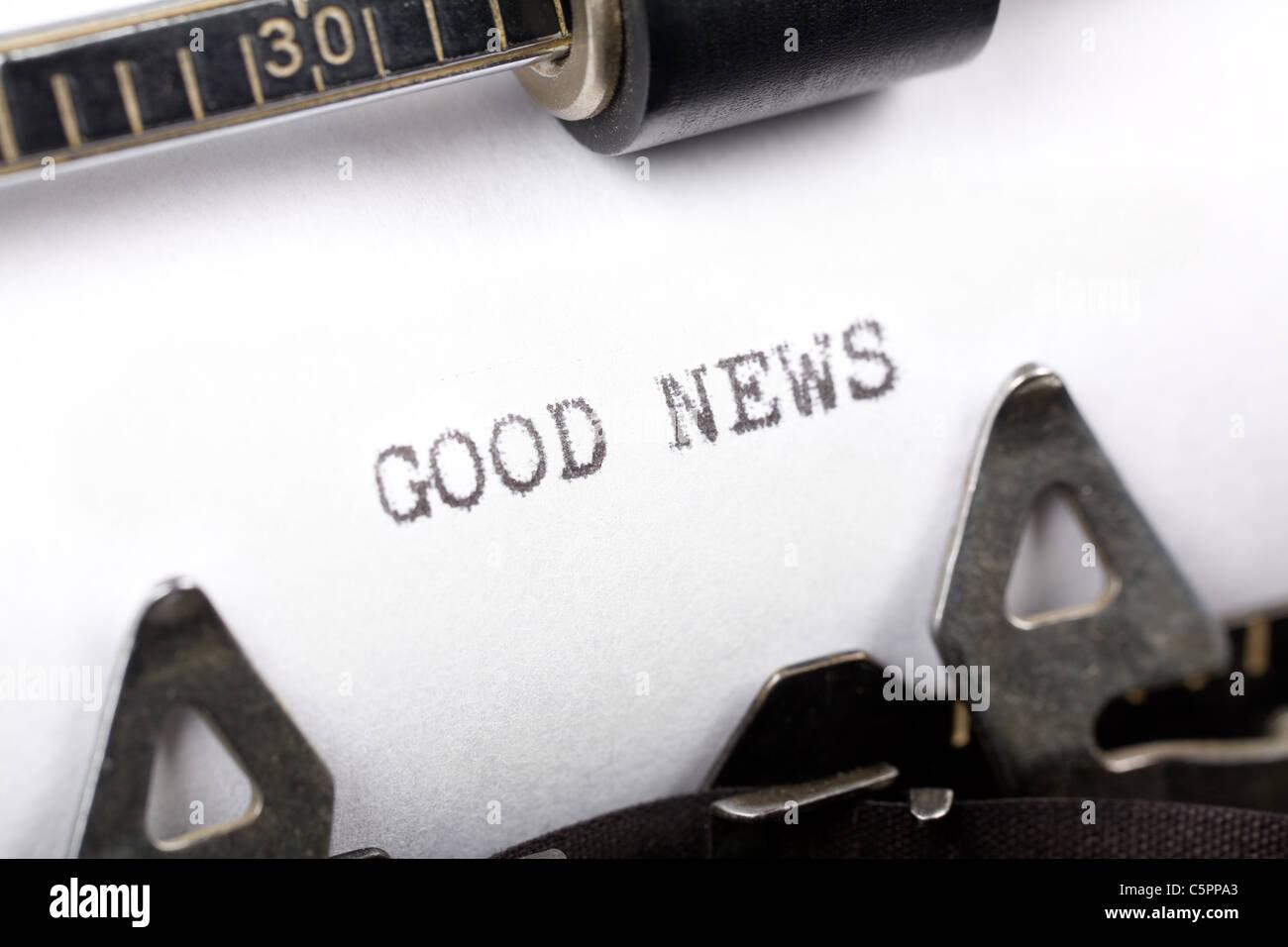 Typewriter close up shot, concept of Good News - Stock Image