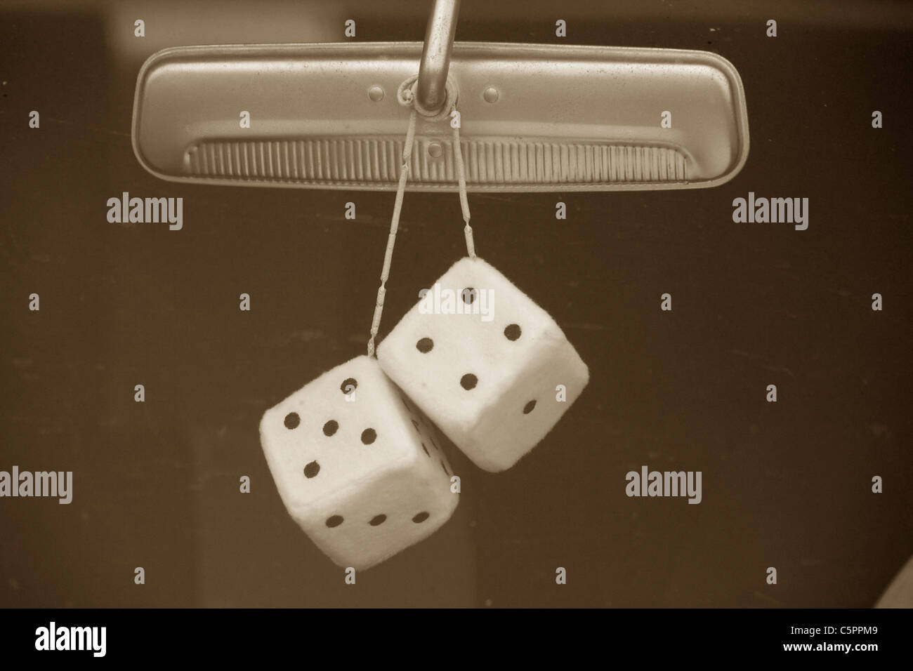 dices and car, concept of lucy - Stock Image