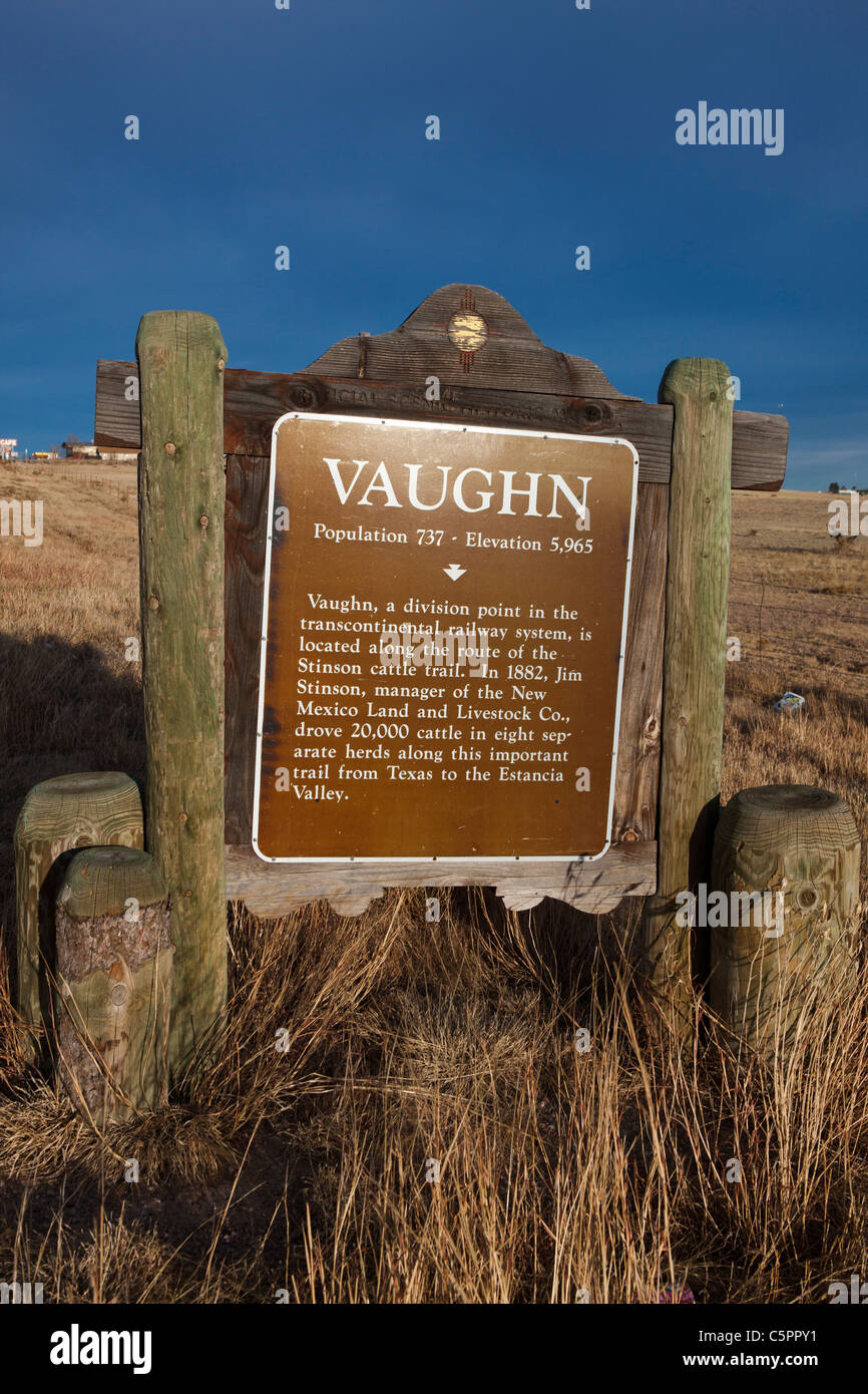 VAUGHN. Vaughn, a division point in the transcontinental railway system, is located along the route of the Stinson - Stock Image