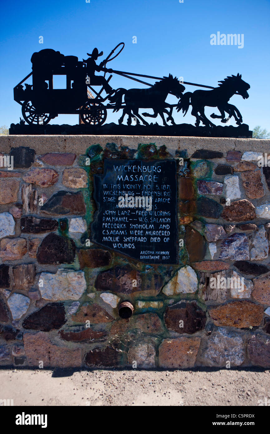 Wickenburg Massacre. In this vicinity, Nov. 5, 1871, Wickenburg – Ehrenburg Stage ambushed by Apache Mohave Indians. - Stock Image